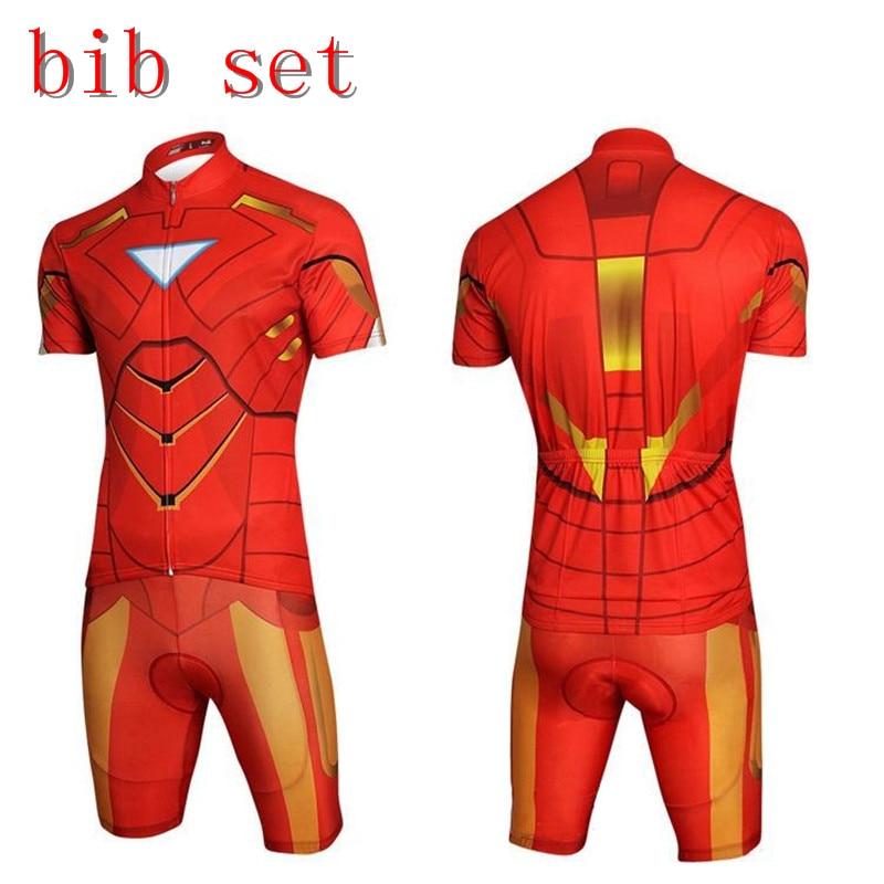 7e9fd9228 Cool Superhero Cycling Wear Iron Man Batman Superman Captain America Spider-Man  Cycling Jersey bike clothing shirt bibShorts set