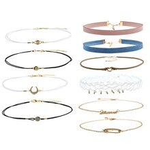 4/6 teile / satz Einfache Geometrie Clavicular Chain Choker Halskette Frauen Schmuck Decor Geschenke Halsband Kurze Halskette für Frauen