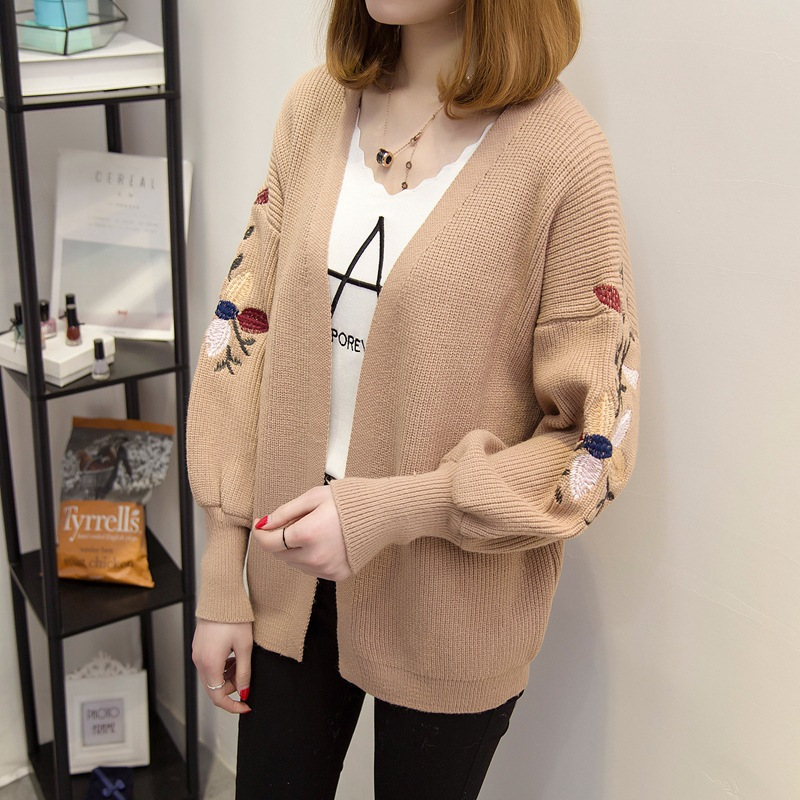 QA1298 Korean loose fashion puff sleeve embroidery sweater open stitch women cardigans high quality coats