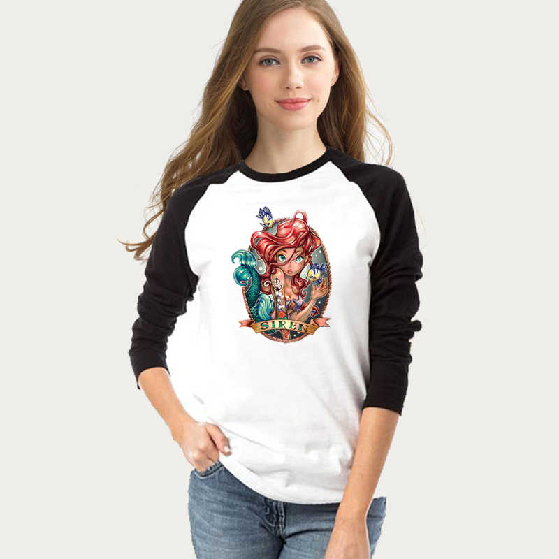 Little Mermaid Punk Ariel princess Women's Print T-shirt Girl's Long Sleeve Female Cotton Graphic Tee shirt lady's Clothes Tops
