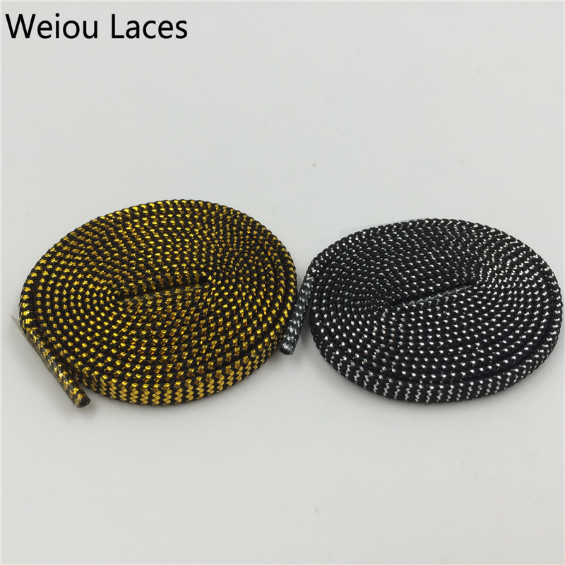 (30 Pairs/Lot) Weiou Sparkle Flat Shiny Gold Shoe Laces Glitter Shoelace For Sports Canvas Sneaker Athletic Coolest Shoelaces jup 50 pairs sneaker shoelaces skate boot laces outdoor sport casual multicolor bumps round shoelace hiking slip rope shoe laces