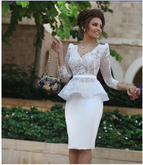 Fashion White Satin Knee Length Lace   Cocktail     Dresses   2018 V Neck Three Quarter Sleeves Appliques Lace Women Formal Party   Dress