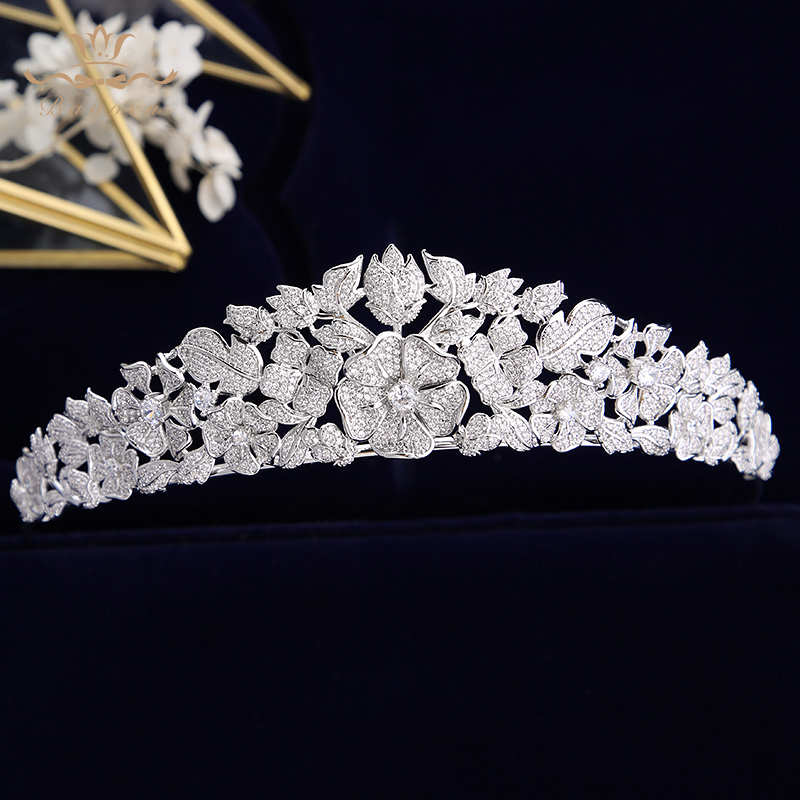 Elegant Queen งานแต่งงาน Tiaras Bridal Crowns Tiaras Headpiece เจ้าสาวเครื่องประดับผม Tocado Novia งานแต่งงานอุปกรณ์เสริมผม-ใน เครื่องประดับผม จาก อัญมณีและเครื่องประดับ บน   1