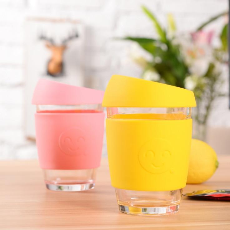 340ml Keep-cup style Emoticon pattern Glass mug with lid creative coffee mug many color Office water mug camo mugs