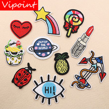 VIPOINT embroidery lipstick eyes patches star love heart badges applique for clothing XW-118