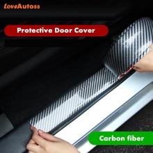 For Citroen Berlingo MK2 2008-2019 Carbon Fiber Rubber door Sill Protector Pedal Welcome Plate Car External Accessories Sticker