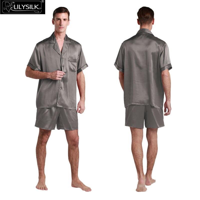 1000-dark-gray-22-momme-contrast-trim-short-silk-pyjamas-set