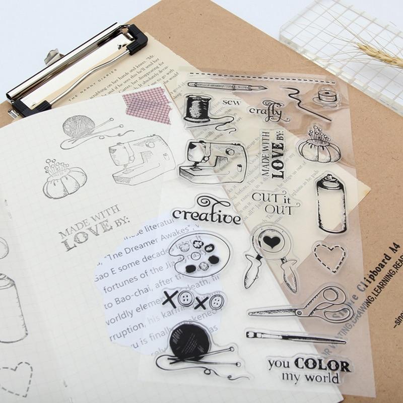 Старинные Швейные машины прозрачный силикон ясно штамп для скрапбукинга Альбом DIY Craft украшения штамп канцелярские