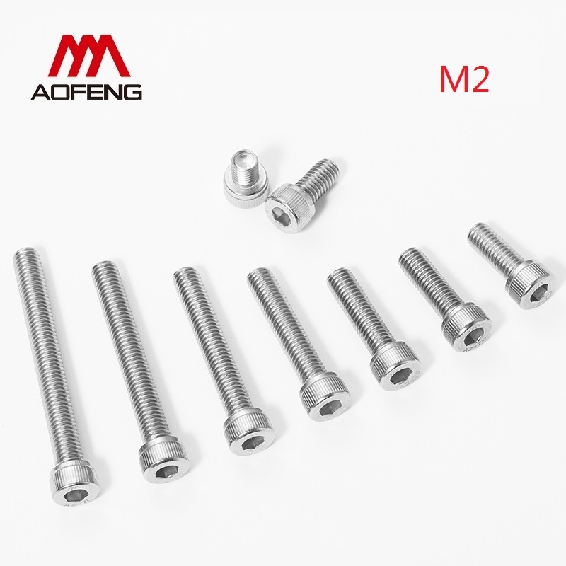 <font><b>M2</b></font> Hex Socket Screw 304 Stainless Steel 2mm*3 4 5 6 8 10 12 14 16 18 22 25 <font><b>30mm</b></font> Hexagon Socket Head Cap Bolt <font><b>M2</b></font> Nut and Washer image