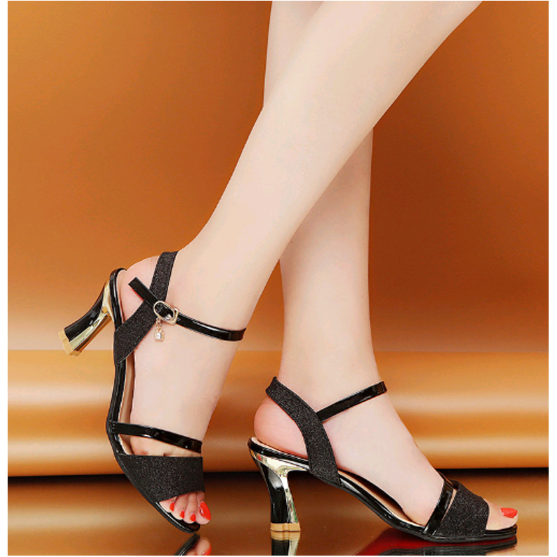 Women 39 s Sandals Summer New High Heels Shoes Thick With The Trend Sequin Casual Wild Open Toe Word Buckle Sexy Fish Mouth Sandals in High Heels from Shoes