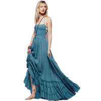 Boho chic halter chiffon long dress Women backless 2018 maxi dresses vestidos Sexy split beach summer dress beach wear mori girl