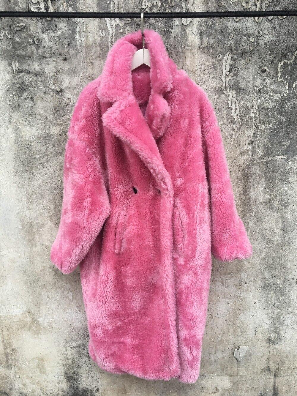 9d024d6a17bc 2018 New female long coat teddy coat faux fur coat leopard print womens  plus size fashions pink fur coat 399.8 ₪