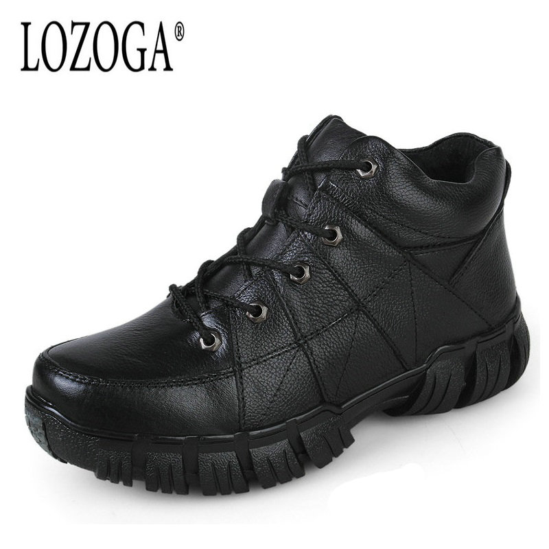LOZOGA Big Size 38-47 Men Shoes Boots Genuine Leather Ankle Shoes Lace-Up Army Boots Handmade Autumn Winter Fashion Boots Warm lozoga new men shoes fashion boots ankle 100
