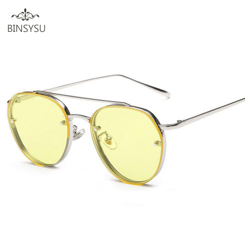 Módní sluneční brýle kulaté nové ženské slitiny rám barevné sluneční brýle jasné zrcadlo žlutý objektiv ženy značky Design Oculos de sol