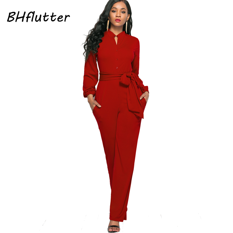 BHflutter Jumpsuit Women Romper 2018 New Style Buttons Casual Overalls Long Sleeve Autumn Winter Jumpsuits Full Pants Plus Size 4