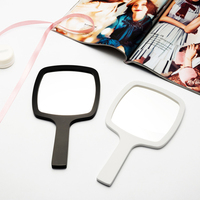 Portable Makeup Mirror Women Compact PU One Sides Hand Holding Cosmetic Mirrors Black/White Makeup Mirrors