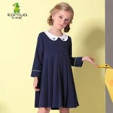 KAMIWA 2017 Autumn Peter pan Collar Cotton Baby Girls Dresses Preppy Style Full Toddler Teenage Children