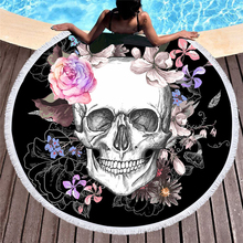New Large Beach Towel For Adults Thick Round Skull Printed Microfiber Camping Mat Compressed Towel Tapestry Yoga Mat women large bath towel for beach thick round 3d sugar skull printed beach towel fabric quick compressed towel tapestry yoga mat