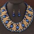 Boutique Conjuntos de Jóias Para As Mulheres Banhado A Ouro Beads Africanos Set Jóias Festa Acessórios Colar Brincos Set Atacado