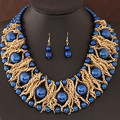 Boutique Jewelry Sets For Women Gold Plated African Beads Jewelry Set Party Accessories Necklace Earrings Set Wholesale