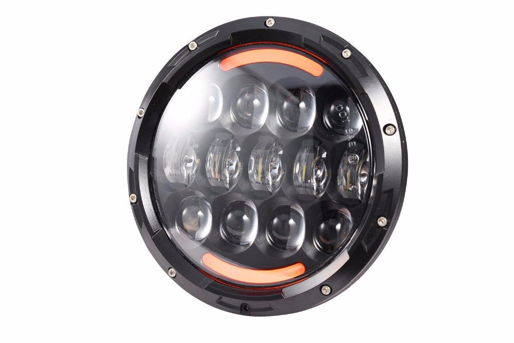1pcs round 7 105W 7inch LED Motorcycle Headlight hi lo beam yellow angel eye Projector For Harley 7inch 75w motorcycle black hi lo beam projector daymaker led chips headlight for harley