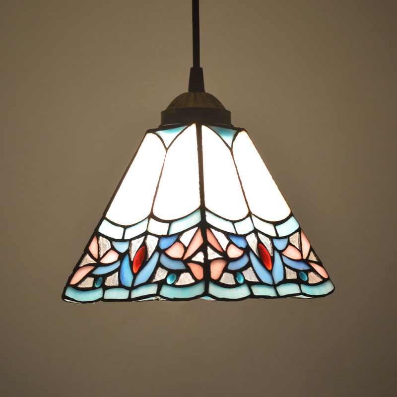 Tiffany <font><b>Pendant</b></font> <font><b>Light</b></font> Stained Glass Shade Art Deco Style Dining Room Decor Hanging Lamp E27 110-240V image
