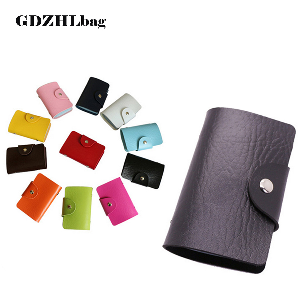 GDZHLbag 24 Bits Business ID Credit Card Holder Case Nubuck PU Leather Fold Men Cards Holders Slots Wallet Business Card Package