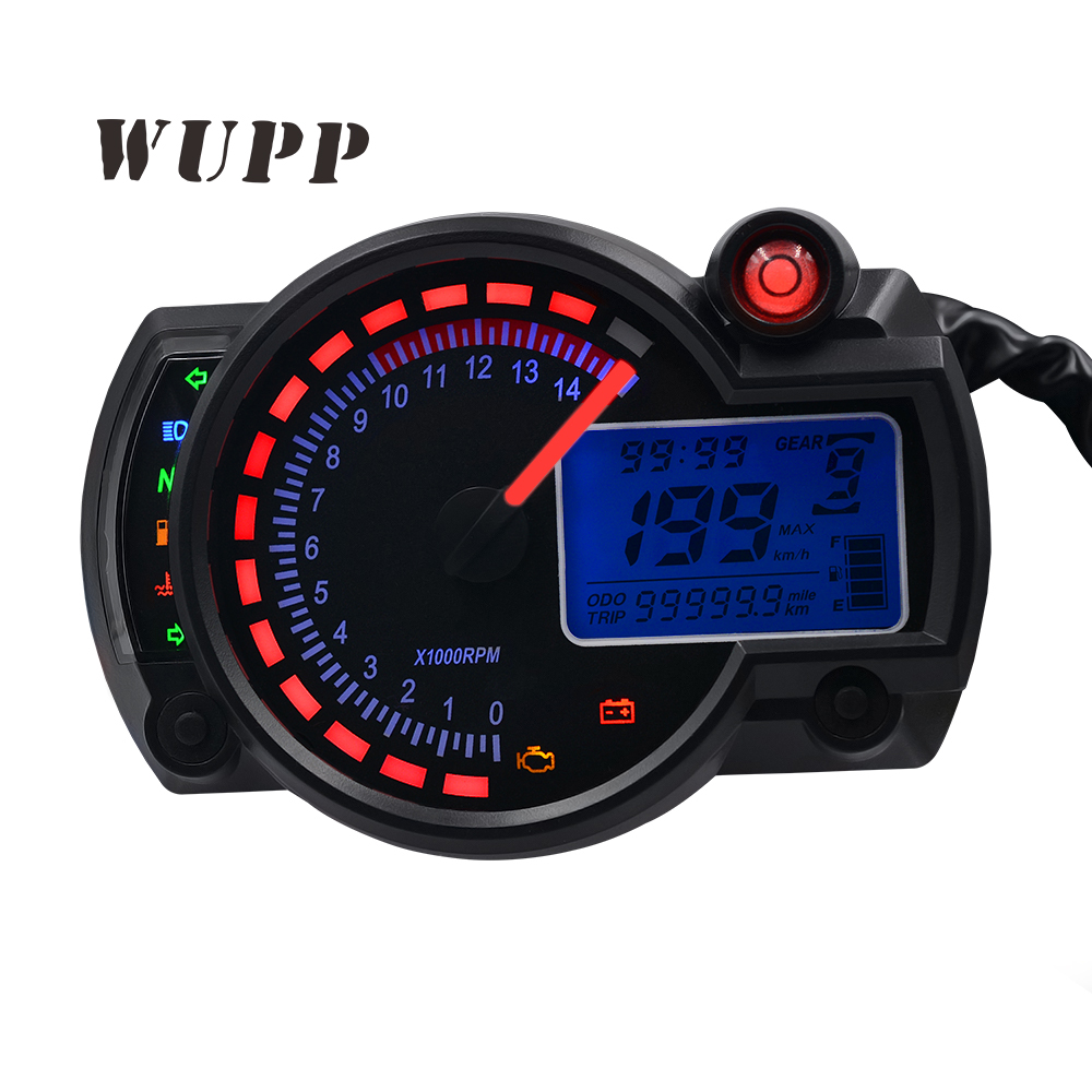 WUPP Electronic Digital Auto Rpm Meter Gauge Tachometer Speedometer, Motorcycle Instrument,Motorbike Speedometer Led Display 15000rpm motorcycle universal lcd digital speedometer odometer tachometer motorbike fuel meter water temperature gauge