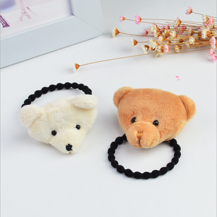Cute Plush Bear Elastic Hair Rubber Band Ties Ring Gum Accessories For Children Baby Girls Hair Bands Scrunchy Holder Headdress 12pc set elastic hair rubber band children hair unicorn headband kids hair accessories gril hair band set cute unicorn cartoon