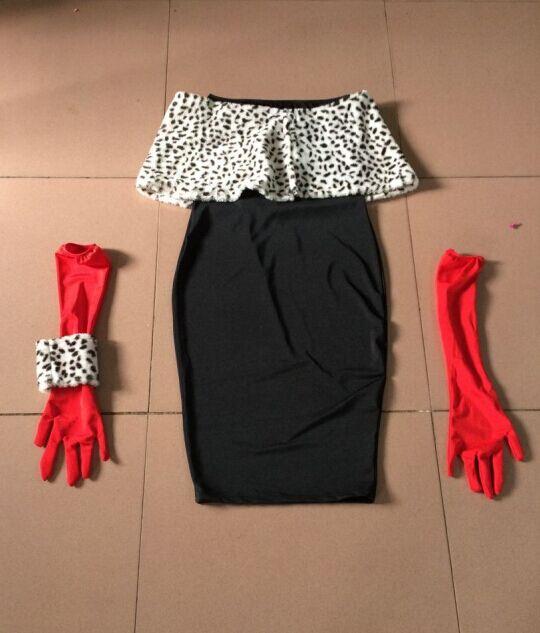 Cruella De Ville Fancy Dress Ladies Costume All Sizes
