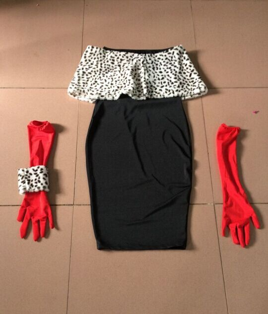 Cruella De Ville Evil Madame Costume Ladies Womens Day Fancy Dress Outfit