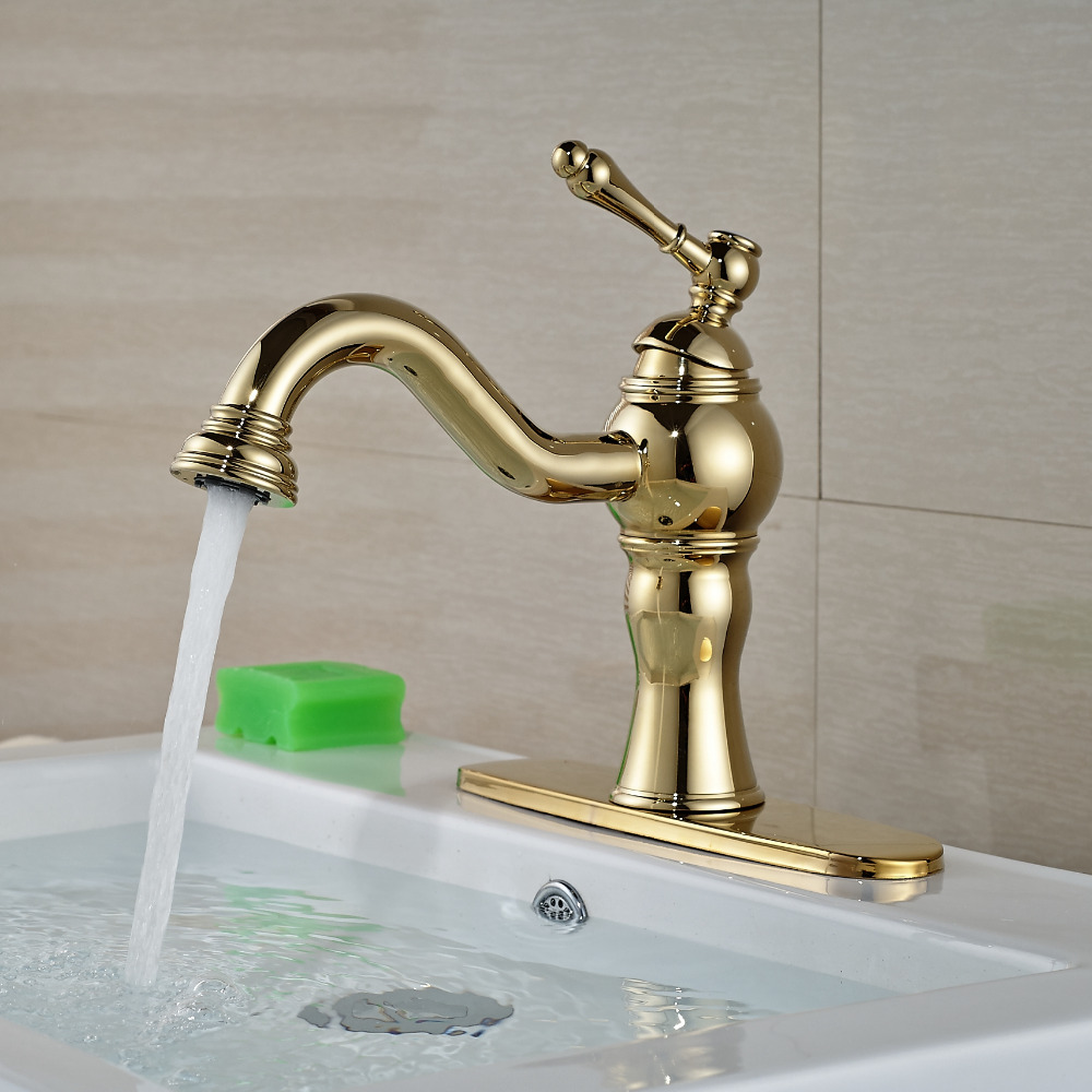 Luxury Golden Brass Mixer Tap Deck Mounted Bathroom Basin Faucet Single Handle Hole Mixer Tap W/ 8 Plate becola basin faucet luxury bathroom golden mixer single handle single hole deck mounted waterfall tap lt 509 free shipping