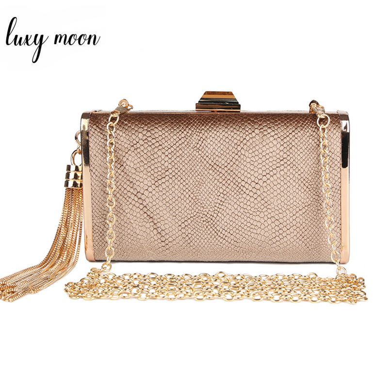 Clutch-Bags Chain-Handbag Evening-Bag Tassel Faux-Suede Wedding Metal Gold-Color Simple-Design