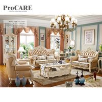 Hot sale high quality leather fabric sofa set royal furnitures living room sofa set for sale 923