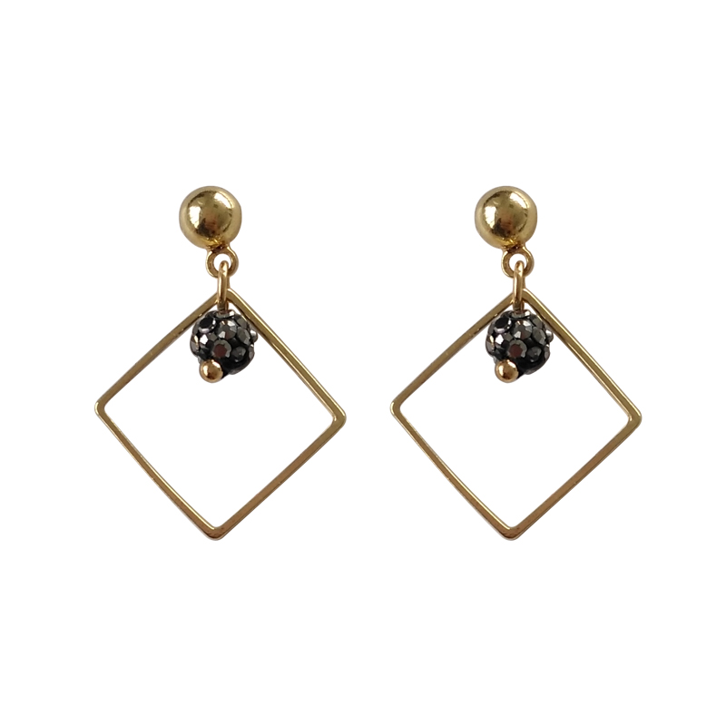 Hot sale Geometry alloy square stud earring Minimalism stone fireball ear accessory S925 ...