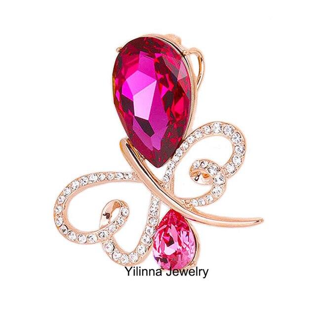 B154384 новый роскошный большой фиолетовый кристалл betterfly брошь Цинковый Сплав роуз позолоченные С Австрия кристалл женская мода ювелирные изделия