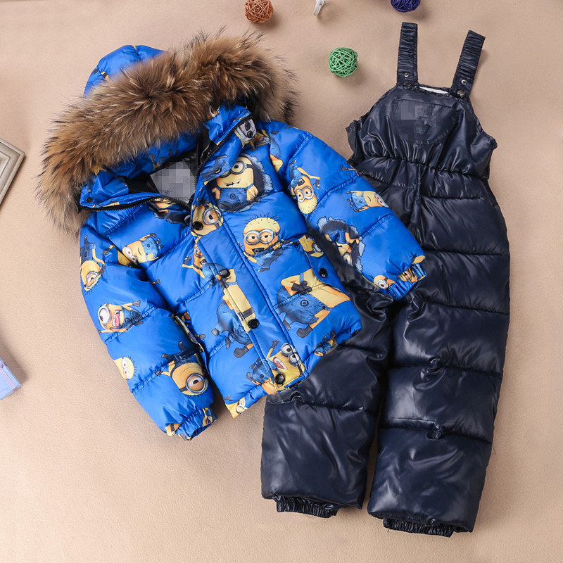 Winter Children Down Jacket Girl's Down Coat with Down Pants Natural Fur Collar 2pcs set 8 colors 12M 2T 4T 6T 8T 2017 winter new clothes to overcome the coat of women in the long reed rabbit hair fur fur coat fox raccoon fur collar