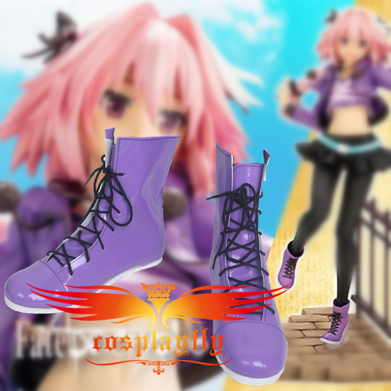 FATE Apocrypha Astolfo Girls Dress Purple Cosplay Shoes Boots For Costume Adult Halloween Carnival Christmas For