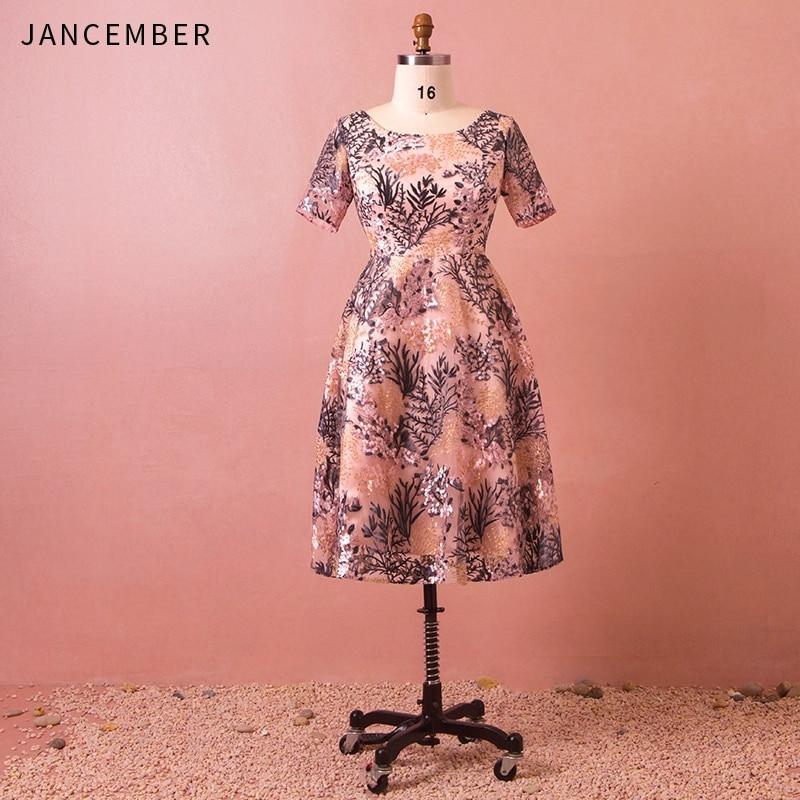 JANCEMBER Latest Plus Size   Cocktail     Dresses   Short Sleeve O Neck Zipper Back Pattern Applique Ankle-Length Classic Prom   Dress
