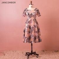 JANCEMBER Latest Plus Size Cocktail Dresses Short Sleeve O Neck Zipper Back Pattern Applique Ankle Length Classic Prom Dress