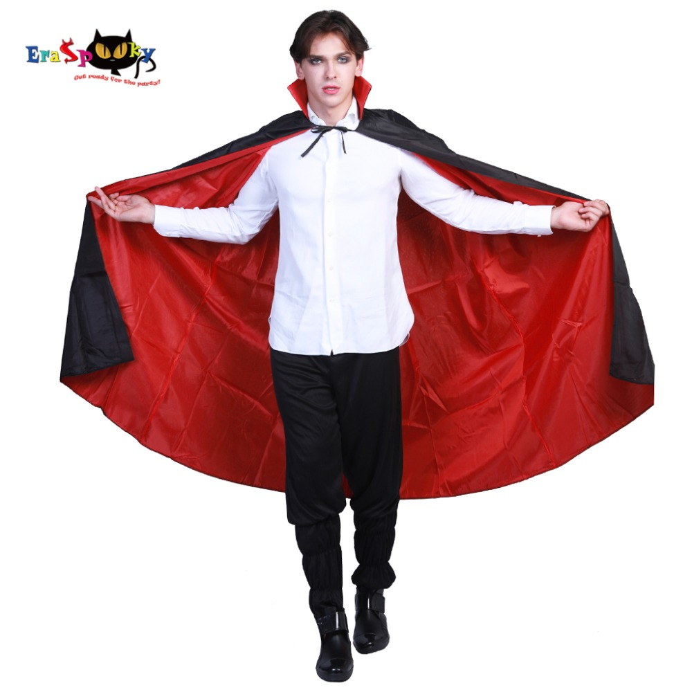 Eraspooky Carnival Gothic Scary Halloween Costumes for Adult Vampire Cloak Cosplay Men Dracula Black Long Cape Party Outfit