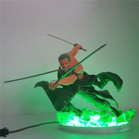 um pedaco roronoa zoro figura de acao diy led night light sanzen sekai tres mil