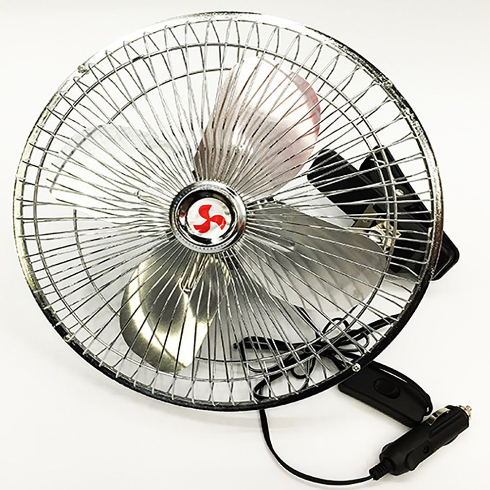 Truck Van Car Fan 10 Inch 12v High Power All Metal Adjustable Speed Fan Electric Auto Cooling Fan Rotatable