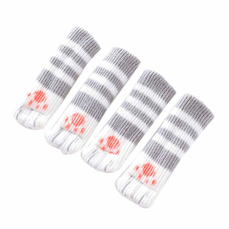 4pcs knitting cat style Chair Leg Socks Home Furniture Leg Floor Protectors Non-slip Table Legs cover provent cat scratching