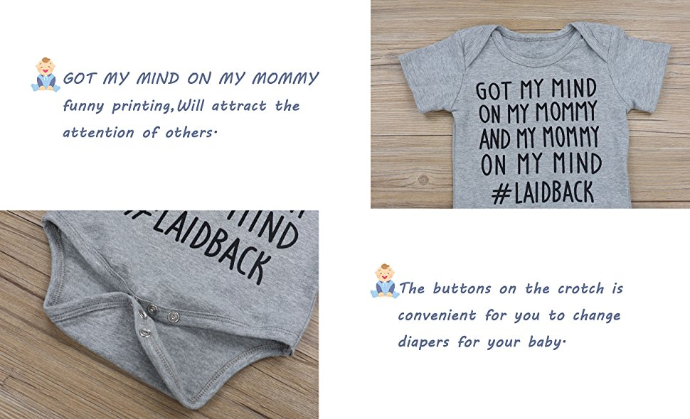 Newborn Baby Boy Girl Clothes GOT My Mind ON My Mommy Funny Bodysuits Cute Rompers Outfits Grey oklady