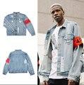Прохладный мода хип-хоп мужской одежды марки одежды страх божий FourTwoFour 42 Rockstar джинсы дизайнер разорвал джинсовый жакет