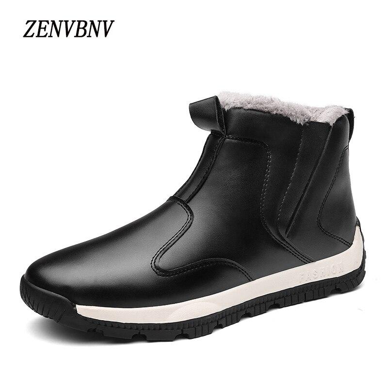 Zenvbnv Новинка 2017 года Arrirals зима PU Ботинки Для мужчин теплая обувь зимние повседневная обувь плюшевые ботильоны ботинки на плоской подошве ре…