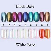 BORN PRETTY 9Pcs Mirror Powder 1g Gold Blue Purple Dust Nail Art Glitter Chrome Pigment Manicure