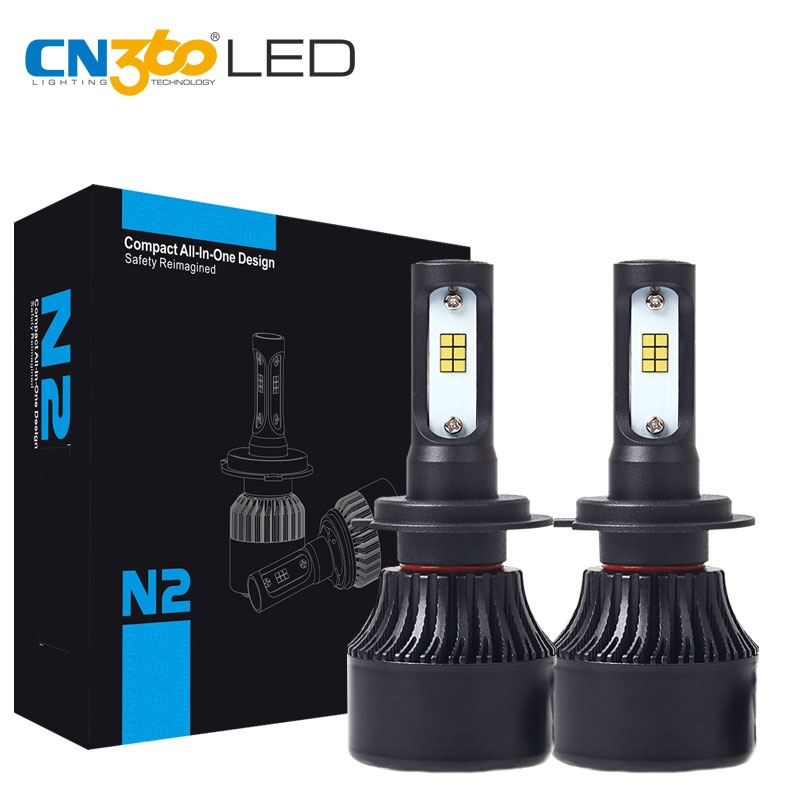 CN360 2PCS LED H7 CSP Chip Auto Car Headlight Bulb 8000LM Lamp 6000K 12V 72W Mini Size White Plug & Play With Cooling Fan auto care h7 cree led car headlight 40w 4000lm 6000k auto led all in one white bulb for automotive head light with play