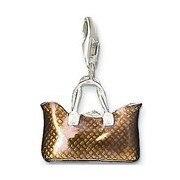European style fashion Sliver Plated Brown shopping bag handbag pendant charm (1.2×1.5cm) fit charm bracelet for women TS-CH0577